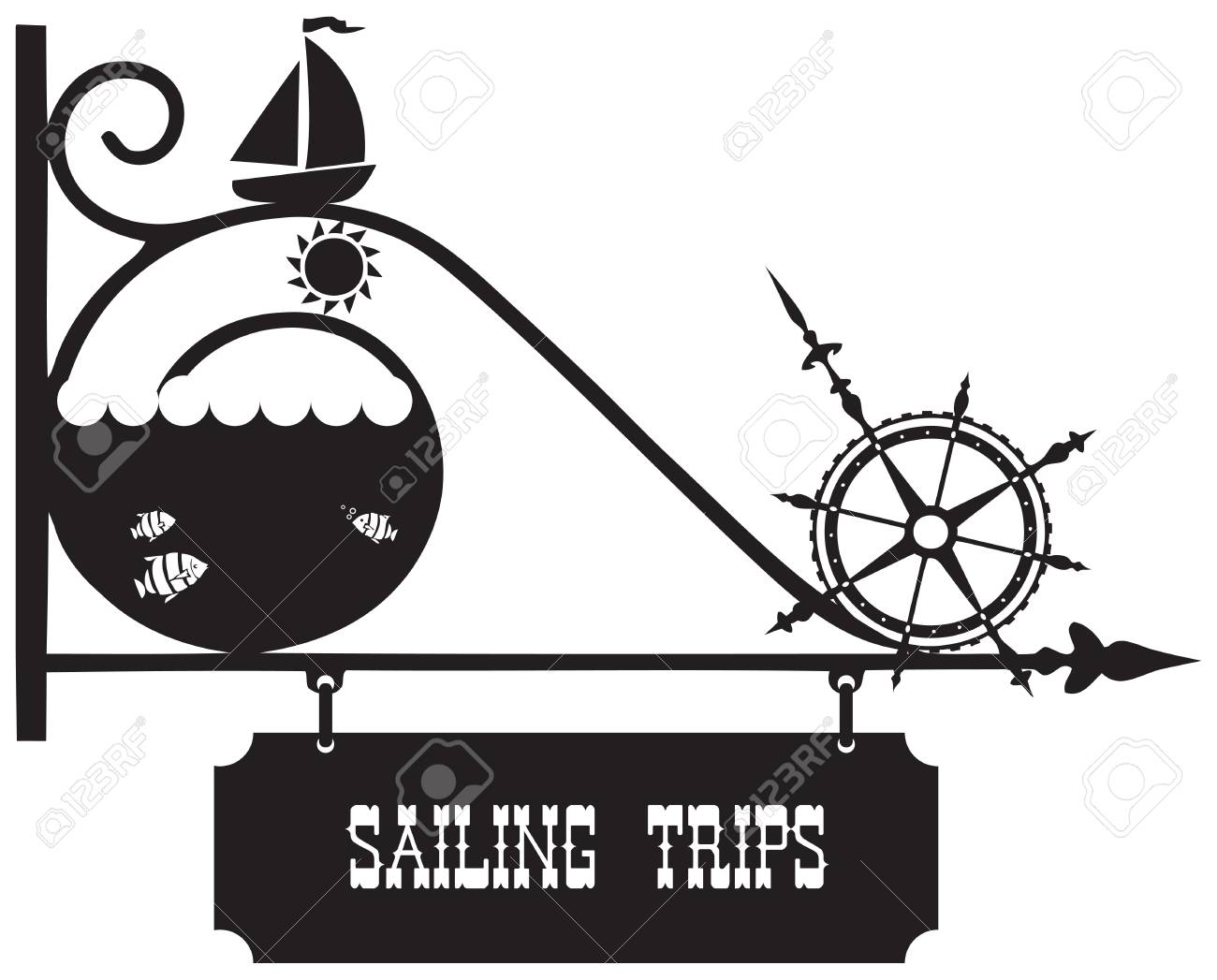treet pointer travel sailing with symbols of sailing and the