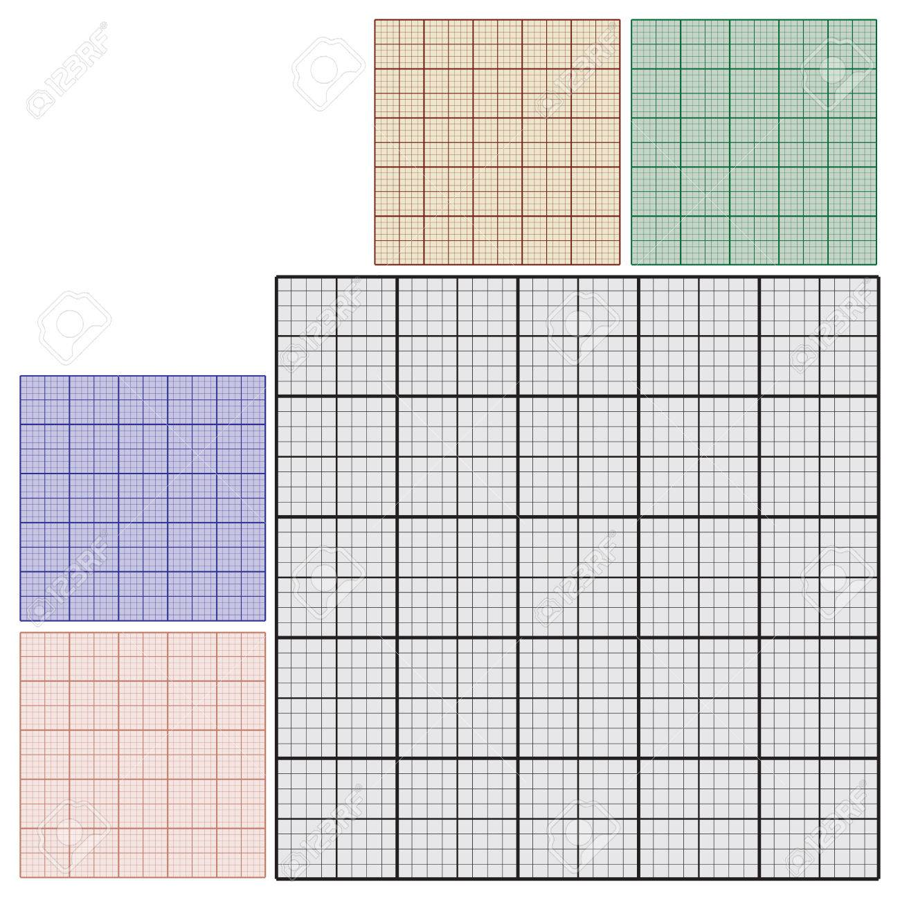 set of industrial sheets of paper for technical drawing graph