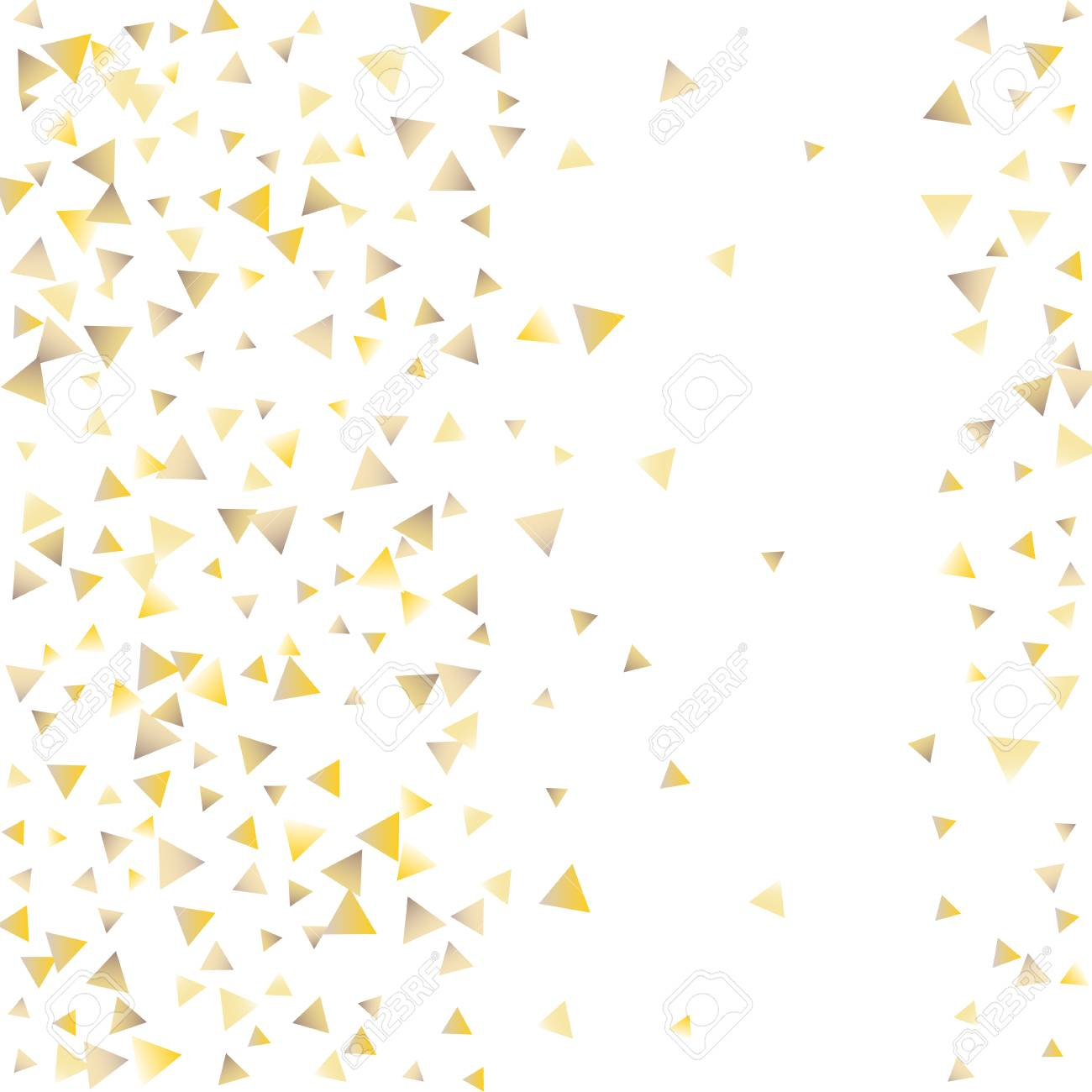 Festive greeting card with gold falling confetti triangles on