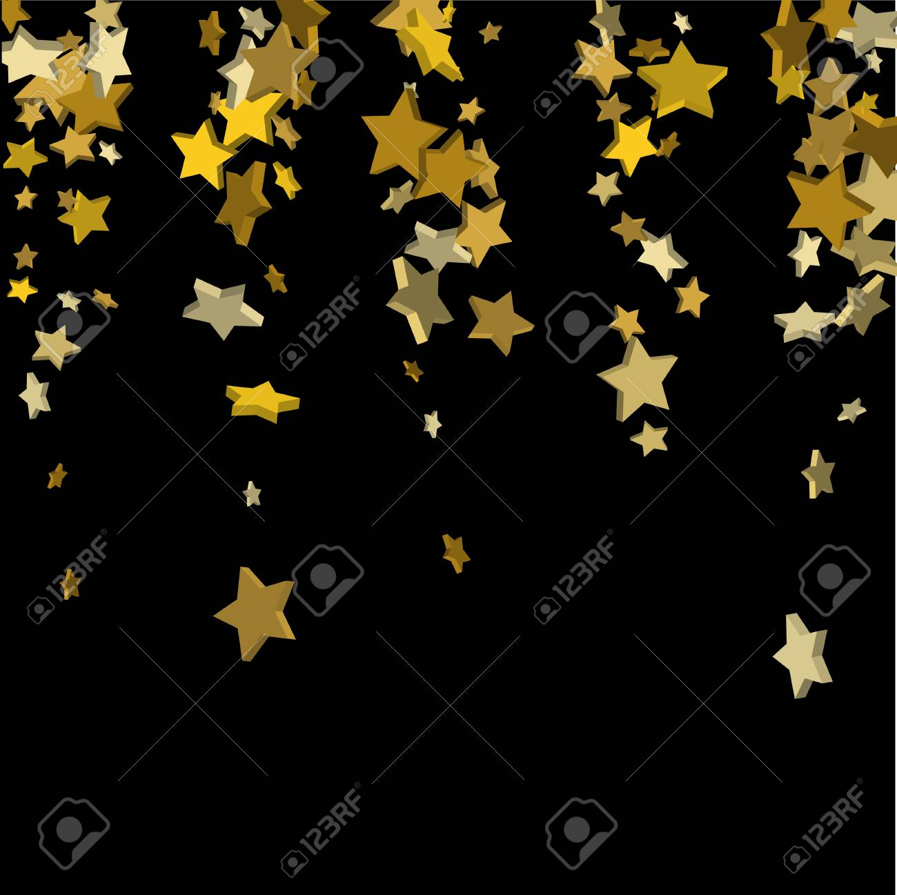 vector black template with gold stars illustration of flying shiny