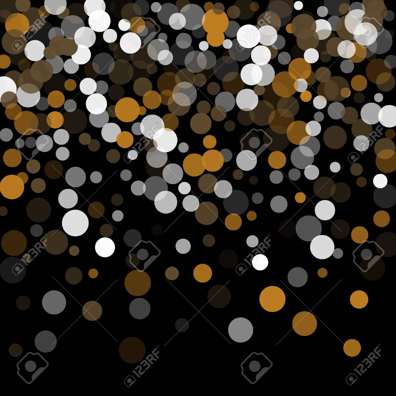 Abstract Black Background With Gold White And Gray Confetti