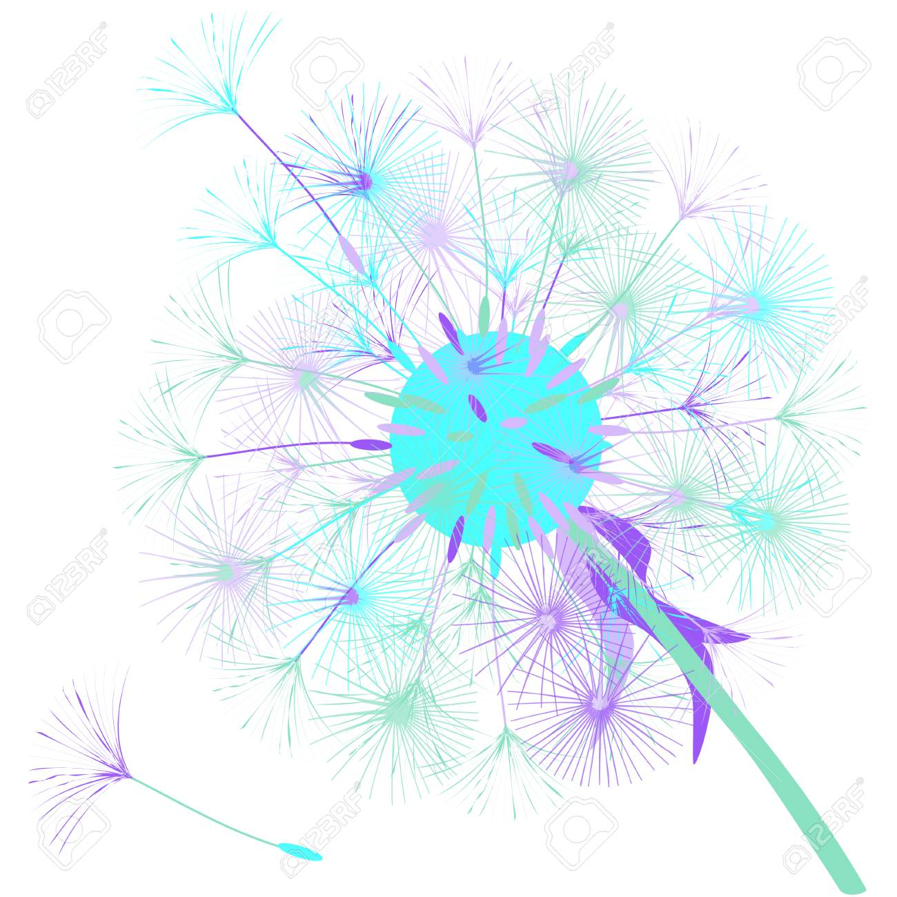 abstract background of a dandelion for design the wind blows