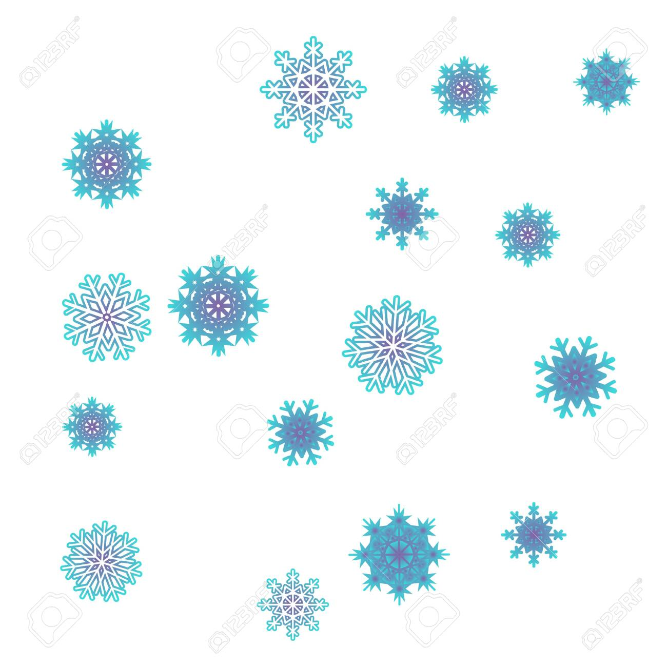 Christmas and New Year background vector with falling snowflakes. The effect of decorating snowflakes. Winter vacation. Well suited for a Christmas card, banner or poster. EPS 10 - 123038685
