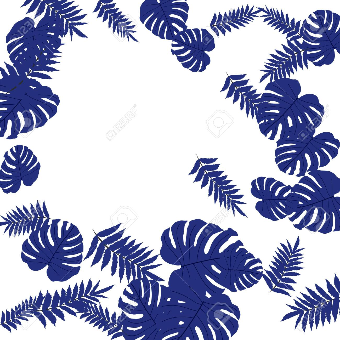Vector tropical pattern, bright tropical foliage, monstera leaves. Modern bright summer print design of thickets of tropical leaves from the jungle. - 153199551