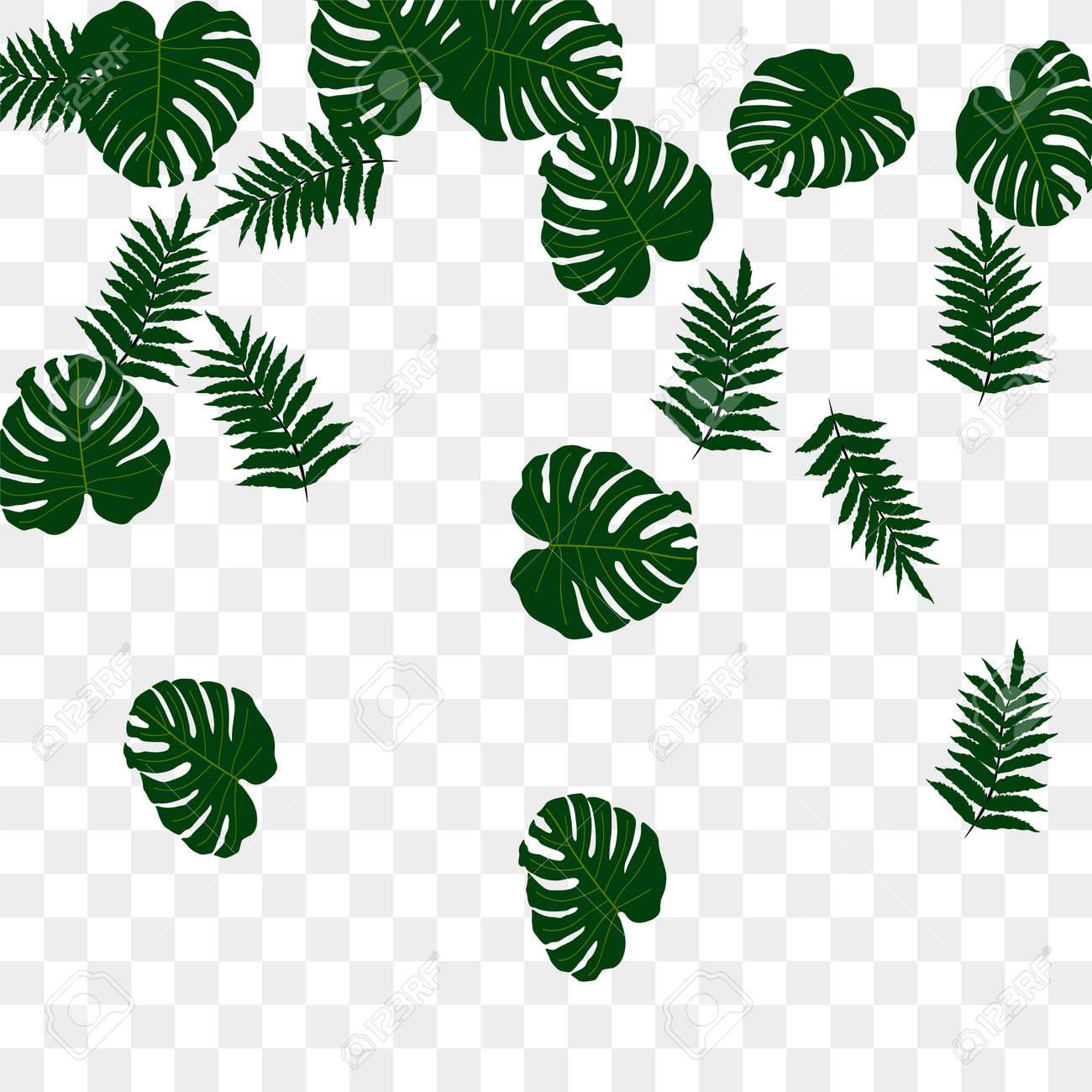 Trendy vector tropical pattern, great design for any purposes. Beautiful spring garden. Tropical backdrop. Summer green garden. Summer tropical leaf. Holiday decoration. - 155446021