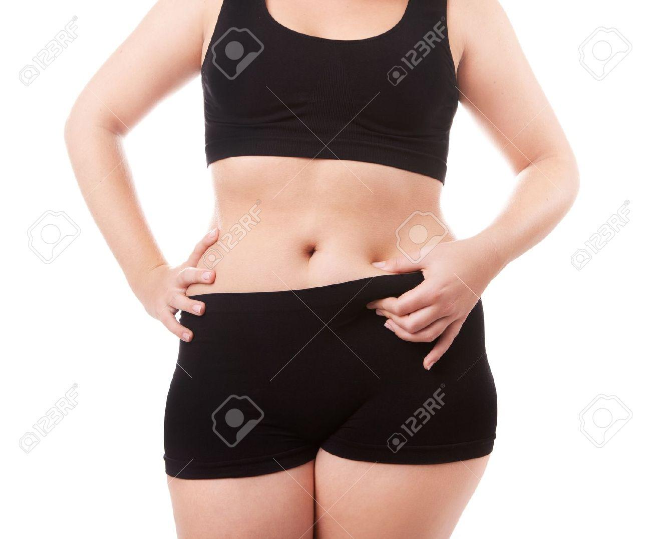 Femme Taille 40 Photos corps taille 40-42 femme, isolé sur fond blanc banque d'images et