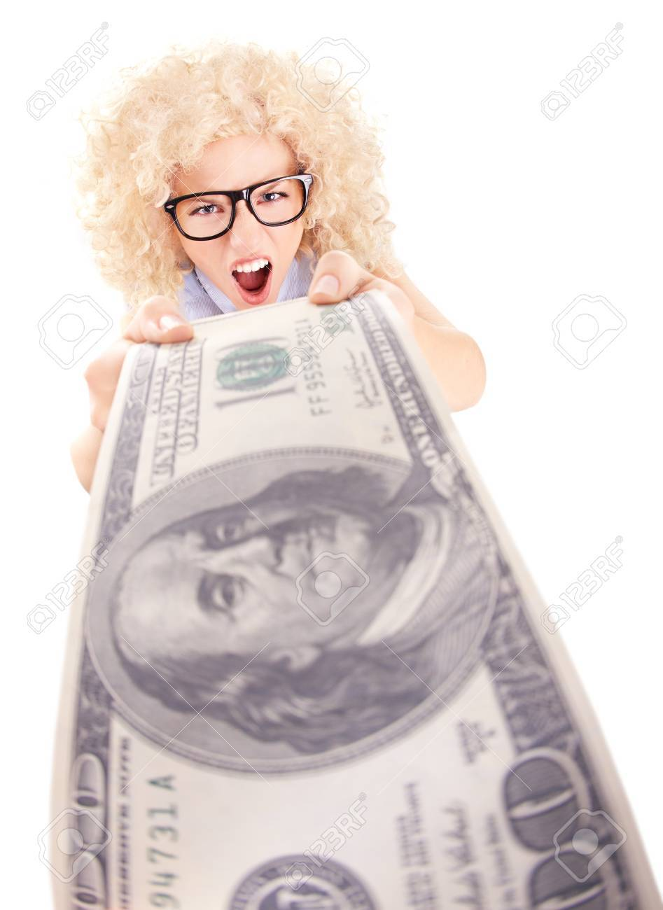 Angry woman holding hundred dollar bill Stock Photo - 16336446