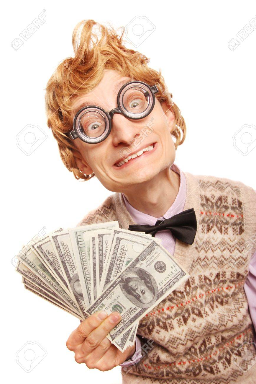Lottery winner concept, funny nerd with dollar bils Stock Photo - 16498827