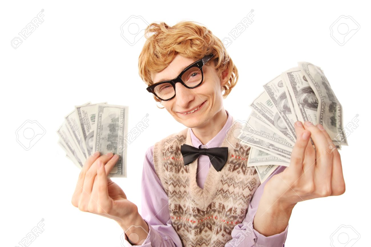 Happy rich nerd Stock Photo - 16498823
