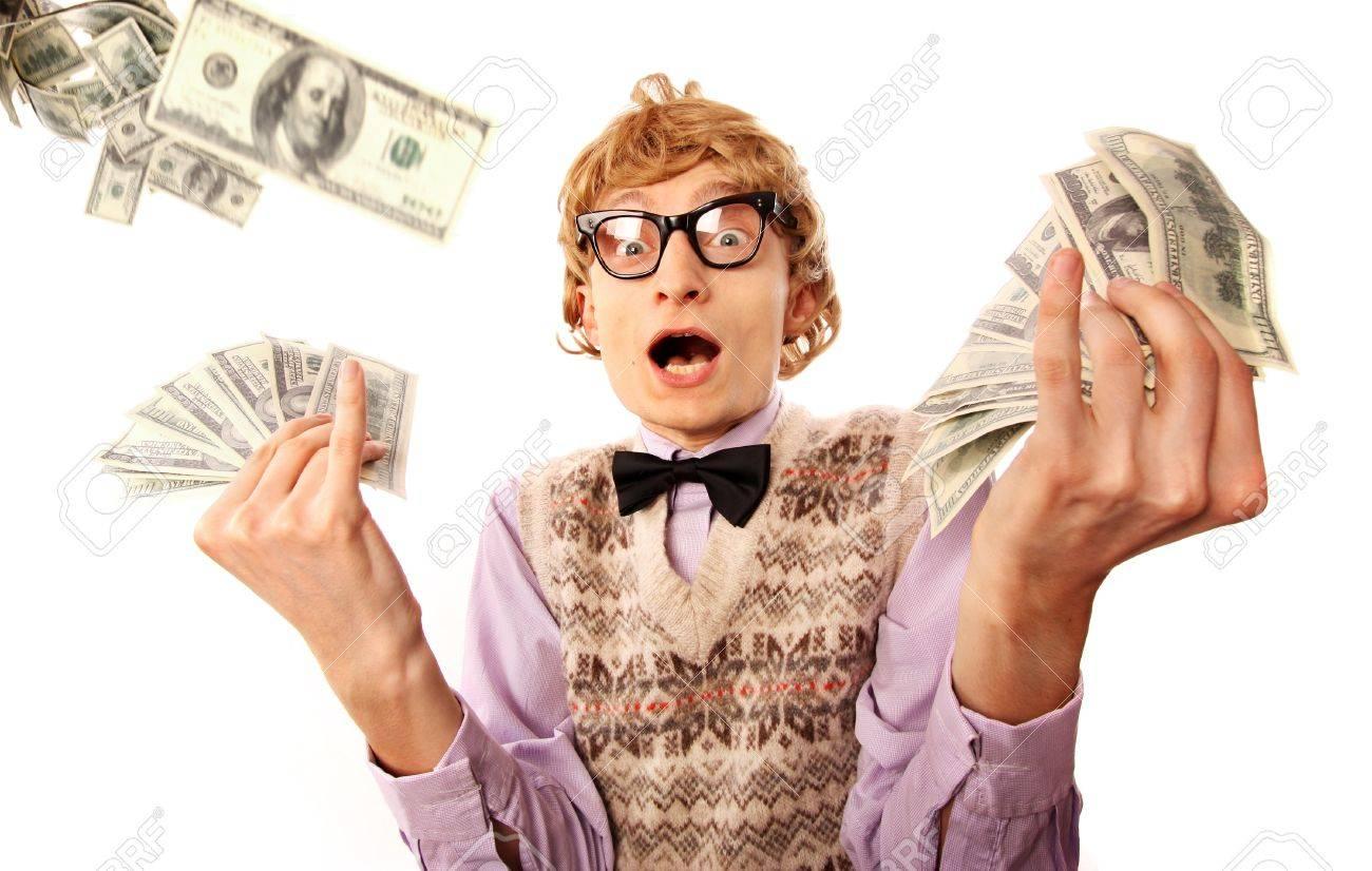 16498809-Millionaire-le-concept-gagnant-de-loterie-dr-le-homme-surpris-avec-billets-d-un-dollar-Banque-d'images