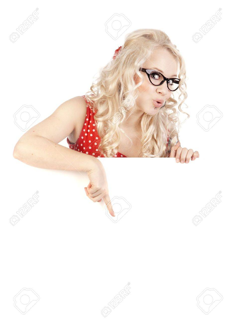 Pretty girl with a blank presentation board Stock Photo - 16572527