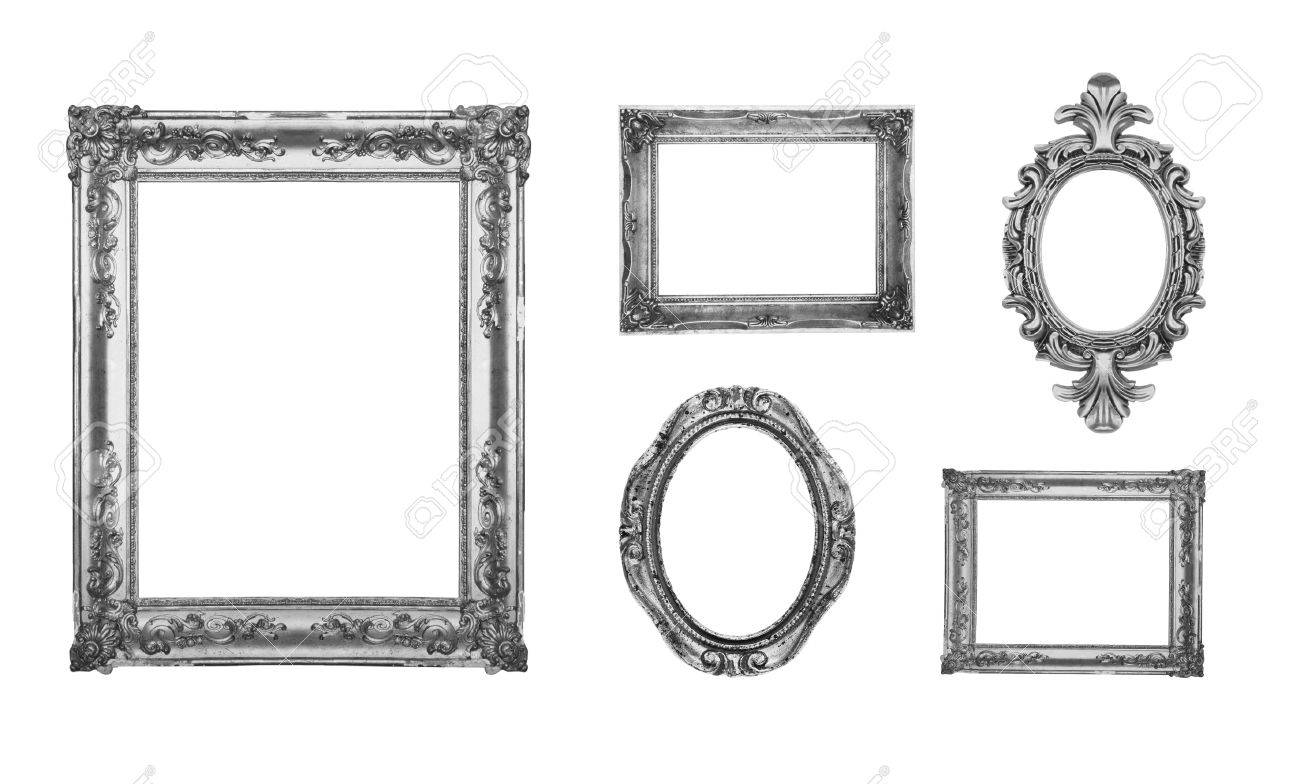 e567ed16b133 Stock Photo - Vintage silver ornate frames