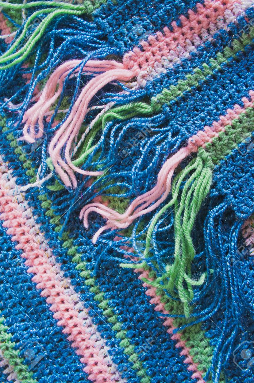 Warm Knitted Crochet Scarf With Fringe Stock Photo Picture And
