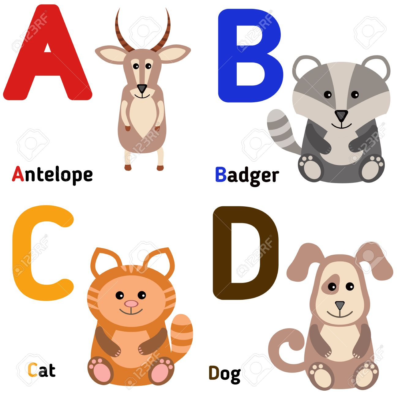 カモシカアンテロープ 動物 イラスト アルファベット 素材 猫 Www