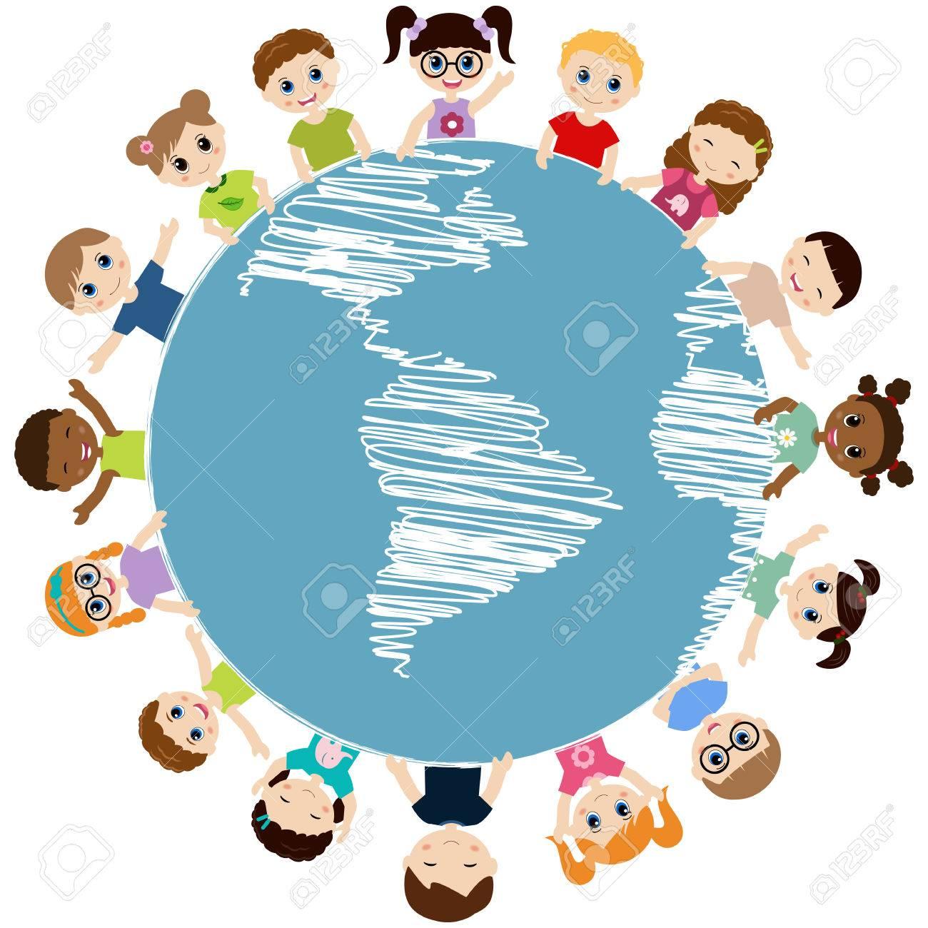 地球の周りの幸せな子供のイラスト のイラスト素材 ベクタ Image 54644260