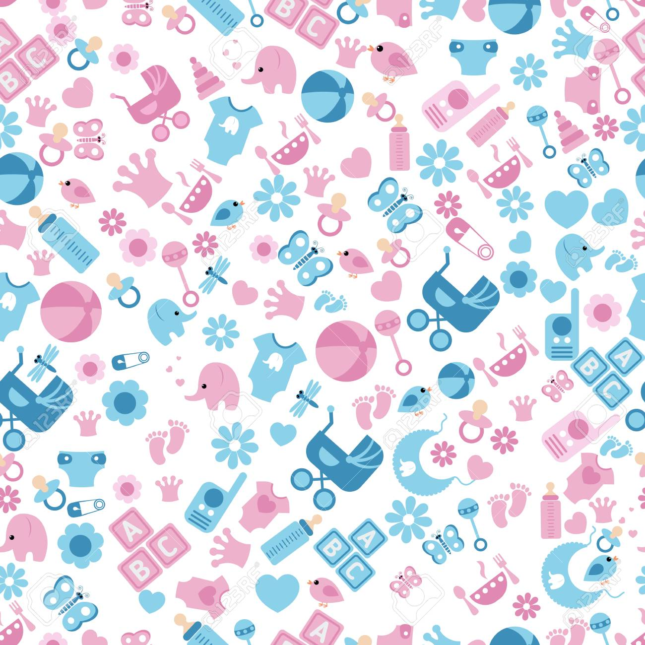 Seamless Baby Background for Baby Shower. Vector seamless baby and pregnancy pattern. - 54644742