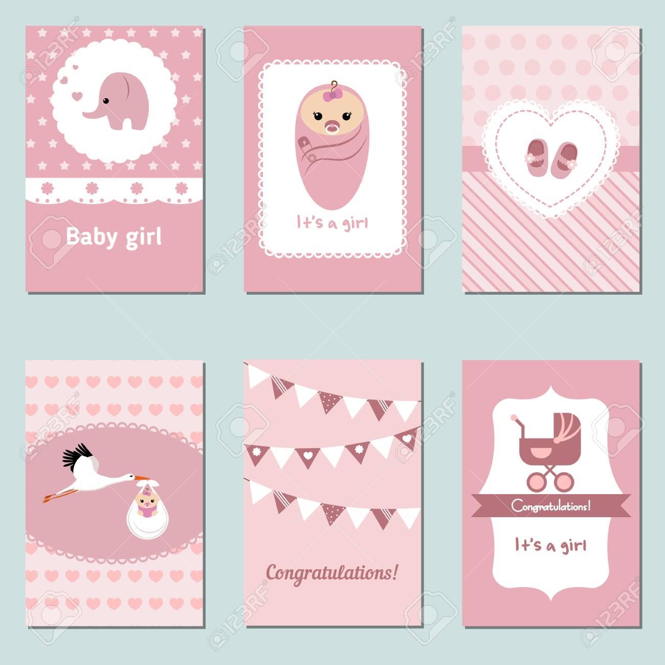 baby karte Satz Der Schönen Baby Karte Für Geburtstag, Babyparty, Party