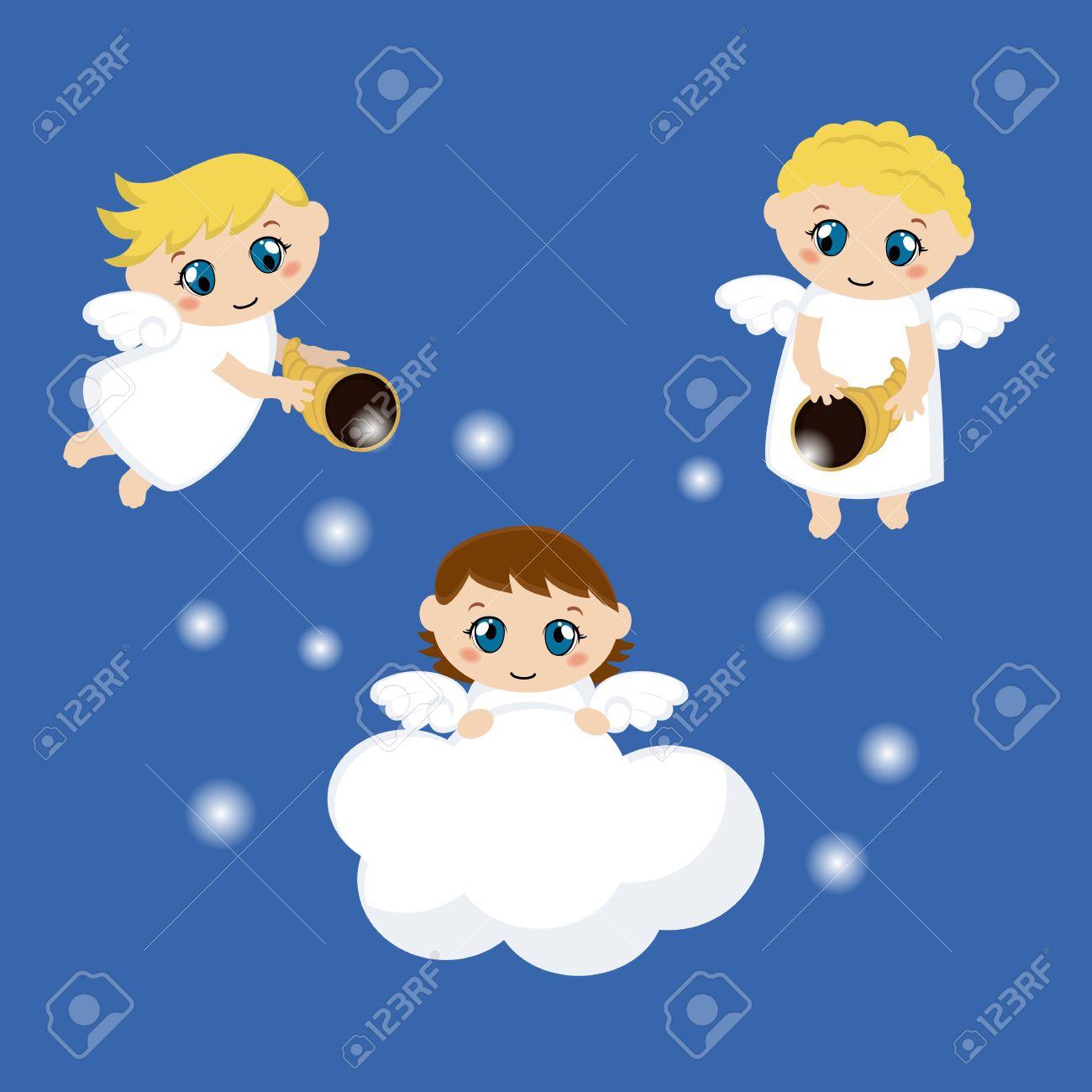 Angelitos Con Las Estrellas Y Las Nubes Ilustración Vectorial De