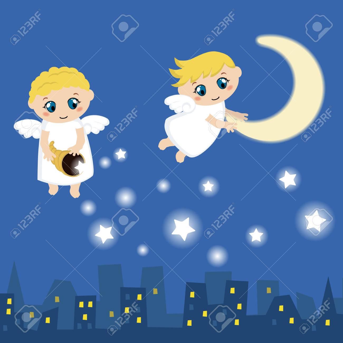 Angelitos Con Las Estrellas Y La Luna Ilustración Vectorial De