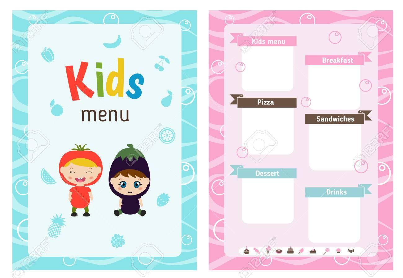Tarjeta De Menú Para Niños Con Pequeños Niños De Dibujos Animados ...