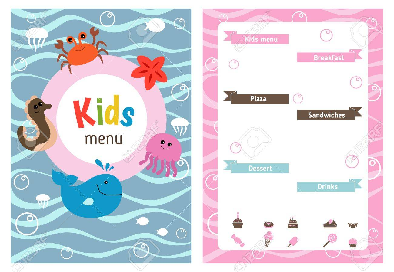 Breakfast Menu Template Landscape Worker Sample Resume Sample 60176662 Kids  Menu Card With Sea Creatures Cute  Kids Menu Templates