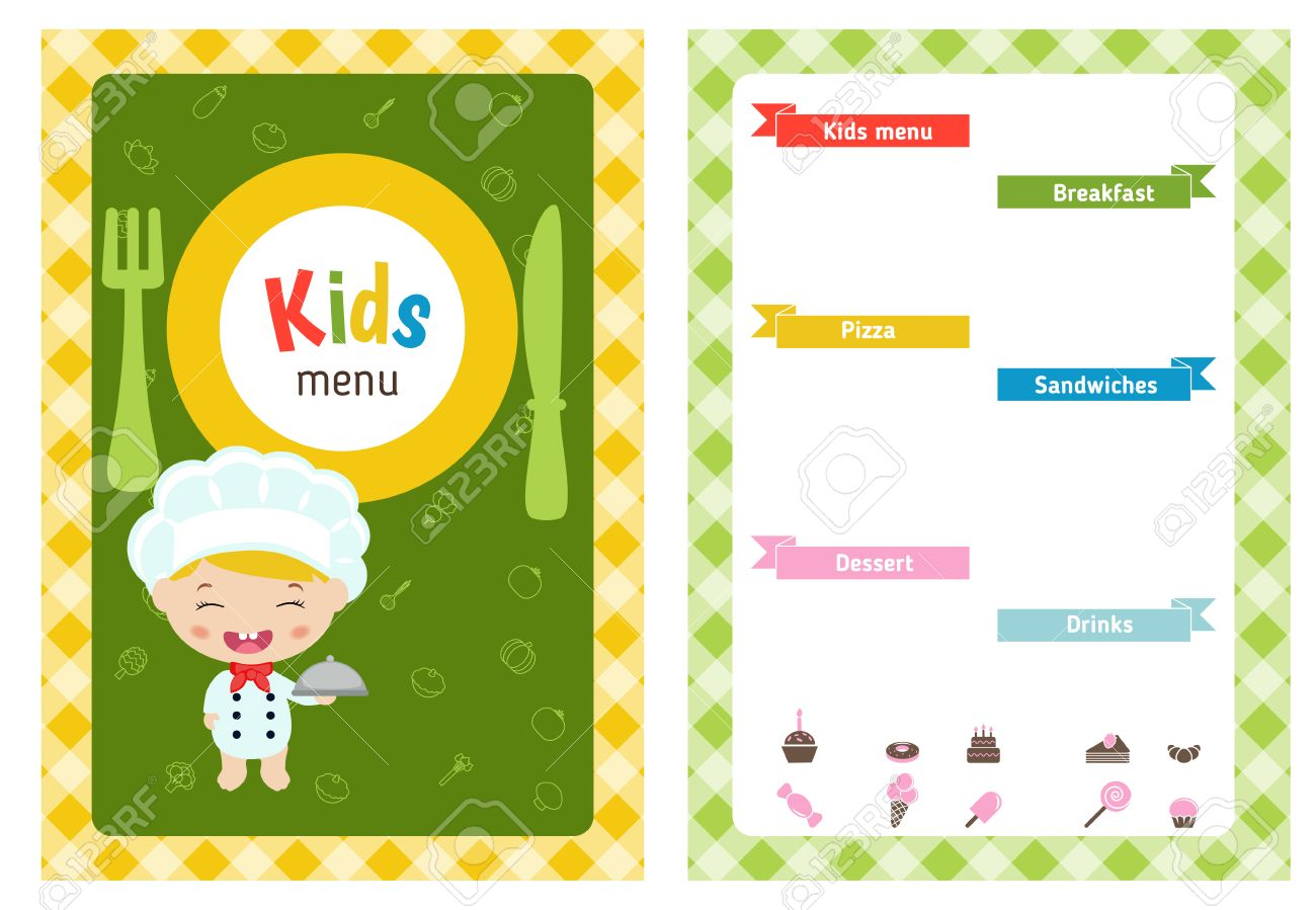 Kids Menu Card With Cartoon Child Chef. Cute Colorful Kids Meal Restaurant Menu  Template.  Free Kids Menu Templates