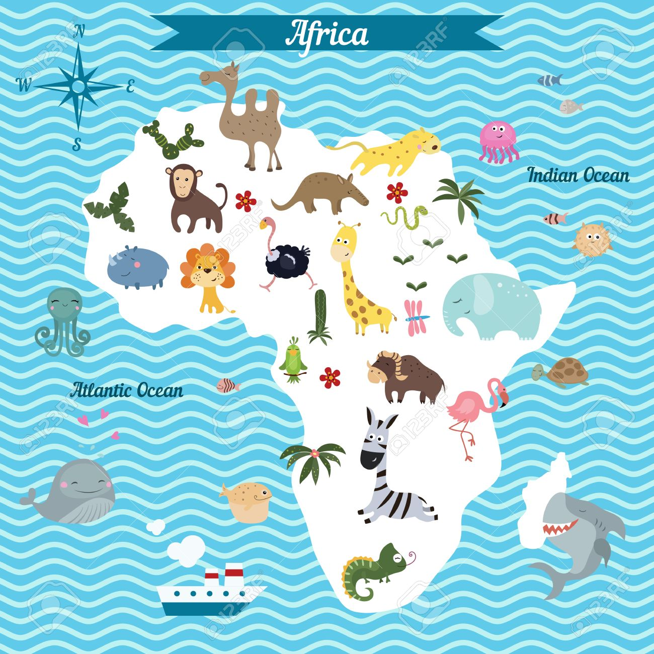 Cartoon Map Of Africa Continent With Different Animals Colorful - Map of africa for kids