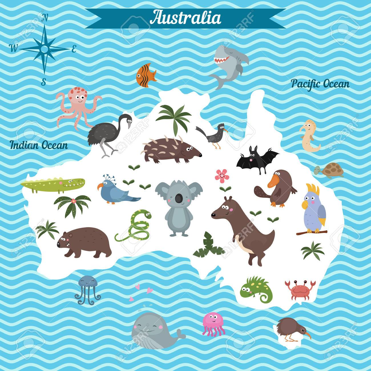 cartoon map of australia continent with different animals colorful cartoon illustration for children and kids