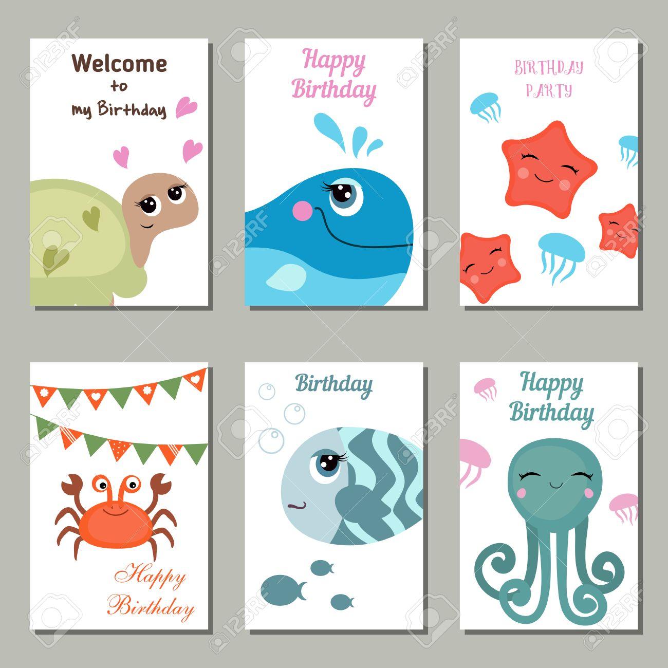 Conjunto De Hermosas Tarjetas De Invitación De Cumpleaños Decorado Con Las Criaturas Del Mar En El Fondo Blanco
