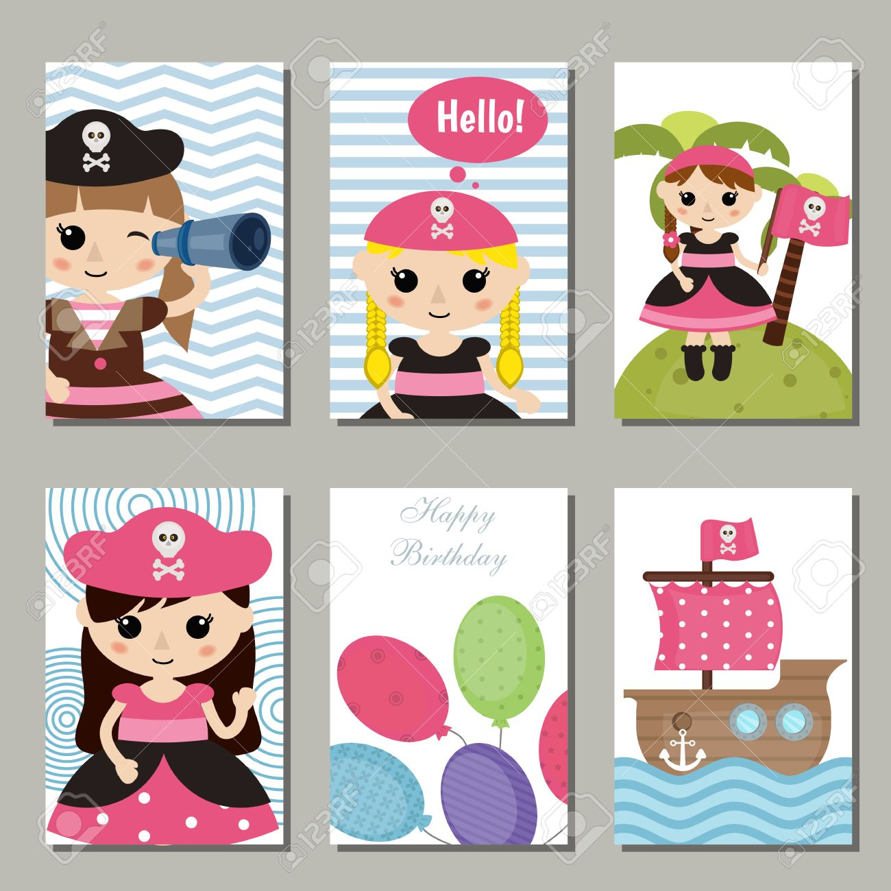 Set of beautiful birthday invitation cards decorated with cute set of beautiful birthday invitation cards decorated with cute girl pirate an pirate objects stock stopboris Image collections