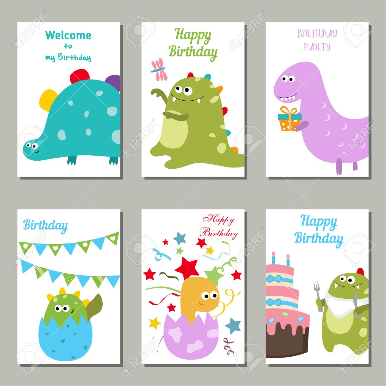 Set Of Beautiful Birthday Invitation Cards Decorated With Cute