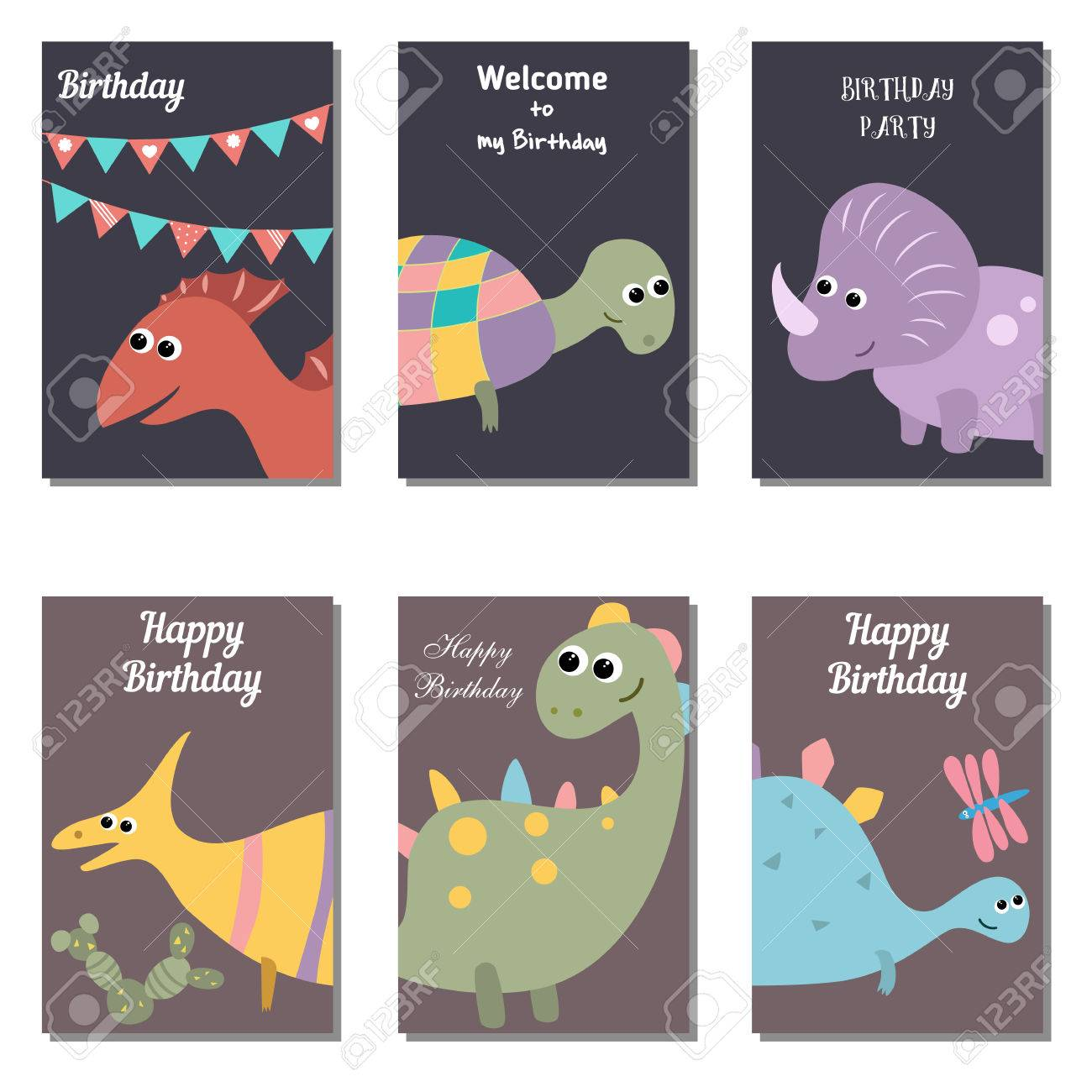 Conjunto De Hermosas Tarjetas De Invitación De Cumpleaños Decorado Con Los Dinosaurios Lindos De La Historieta