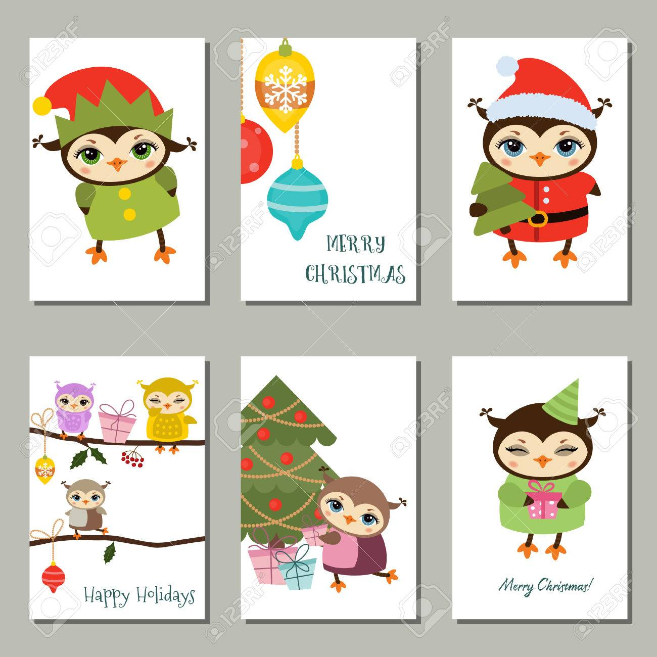 collection of cute christmas and new year greeting card cute cartoon owls stock vector
