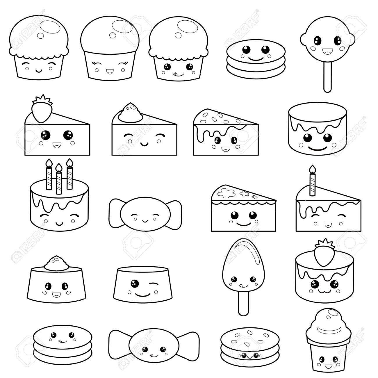 Conjunto De Dulces Lindos Y Dulces. Diseño Adorable De Personajes ...