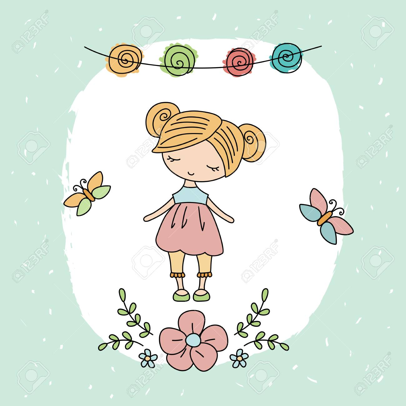 Jolie Petite Fille Carte De Voeux Avec La Petite Fille De Dessin Animé