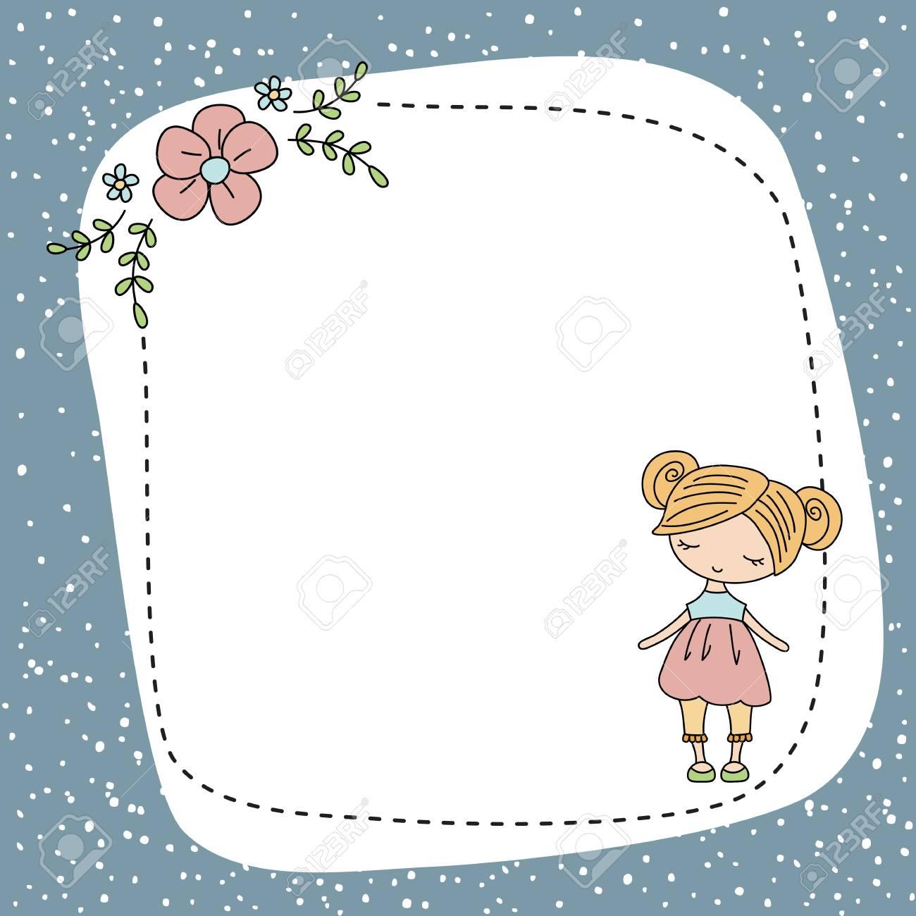 dessin carte de voeux Jolie Petite Fille. Carte De Voeux Avec La Petite Fille De Dessin