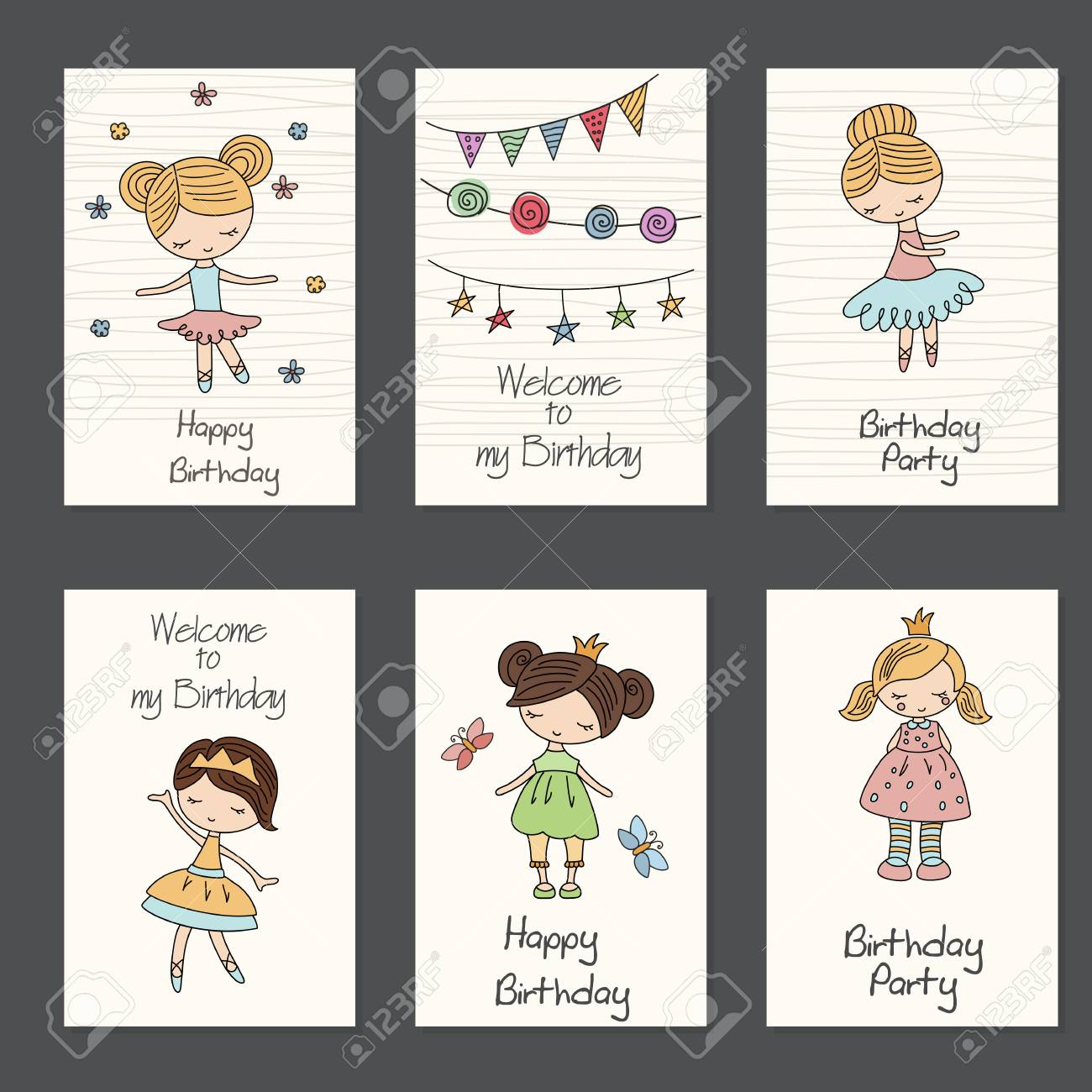 Set Of Beautiful Birthday Invitation Cards Decorated With Cartoon