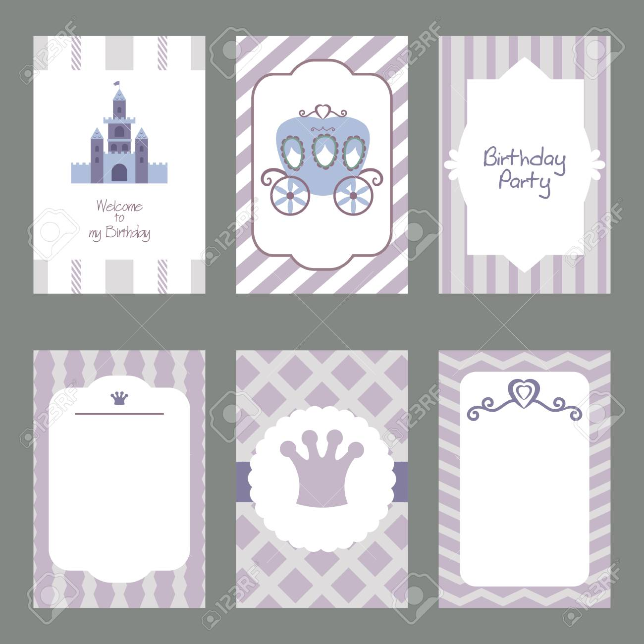 Set Of Beautiful Birthday Invitation Cards Decorated With Fairy ...