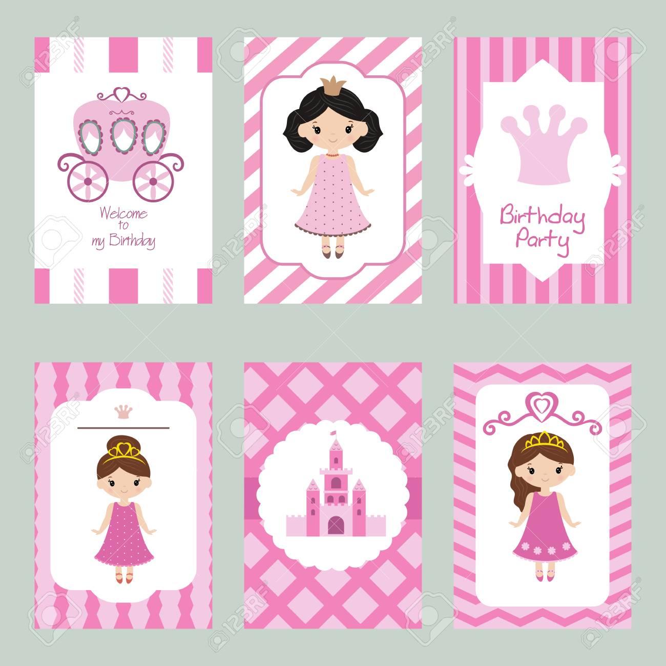 Conjunto De Hermosas Tarjetas De Invitación De Cumpleaños Decoradas Con Princesas De Dibujos Animados