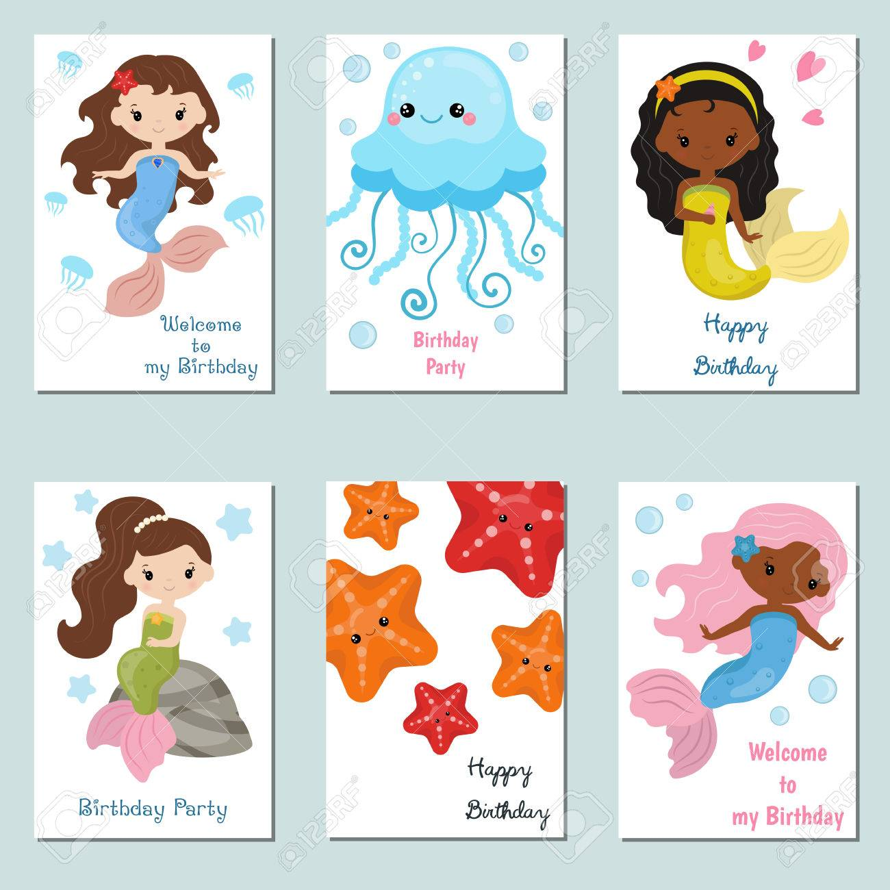 Set Of Beautiful Birthday Invitation Cards Decorated With Cute ...