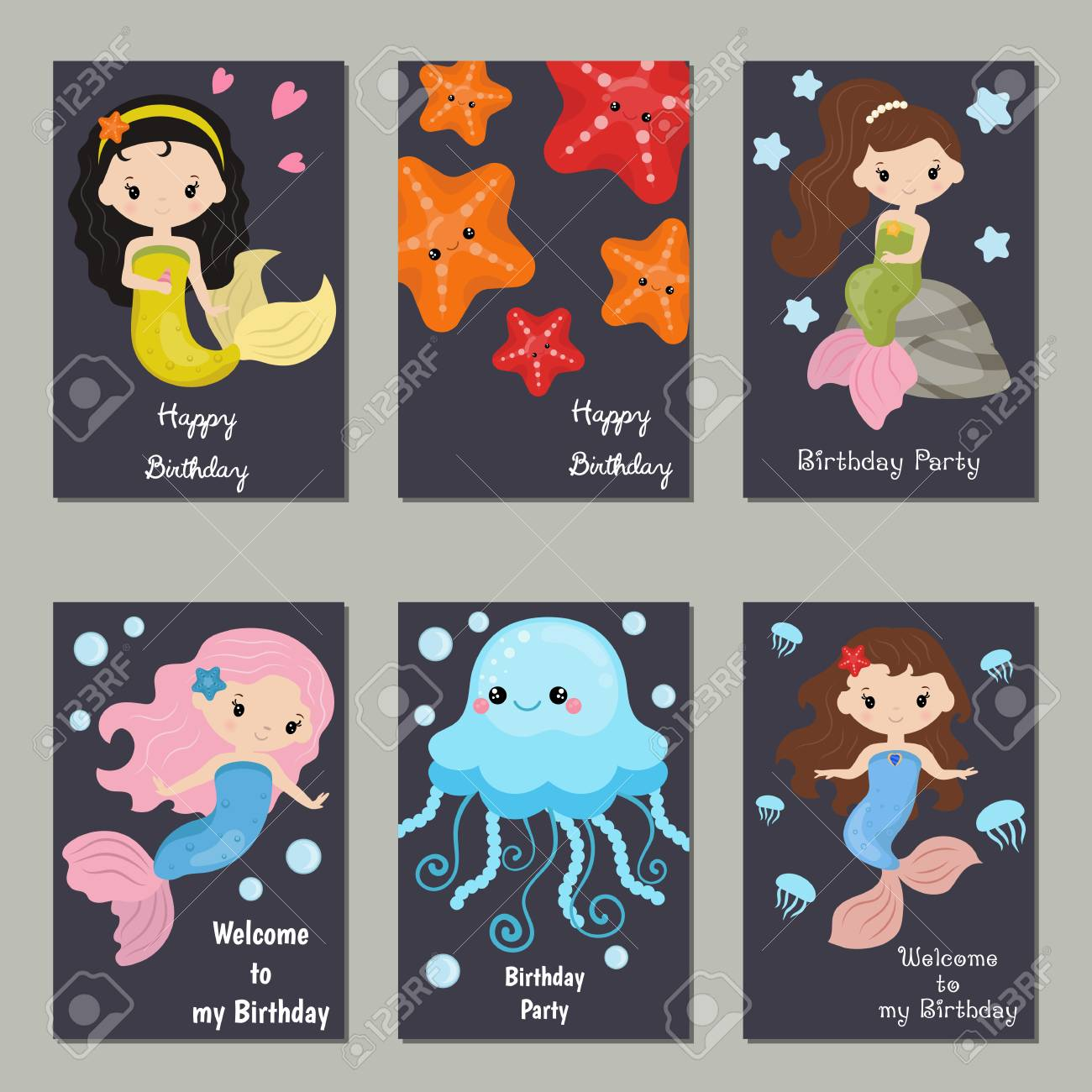 Set Of Beautiful Birthday Invitation Cards Decorated With Cute Girl Mermaids And Sea Animals Stock