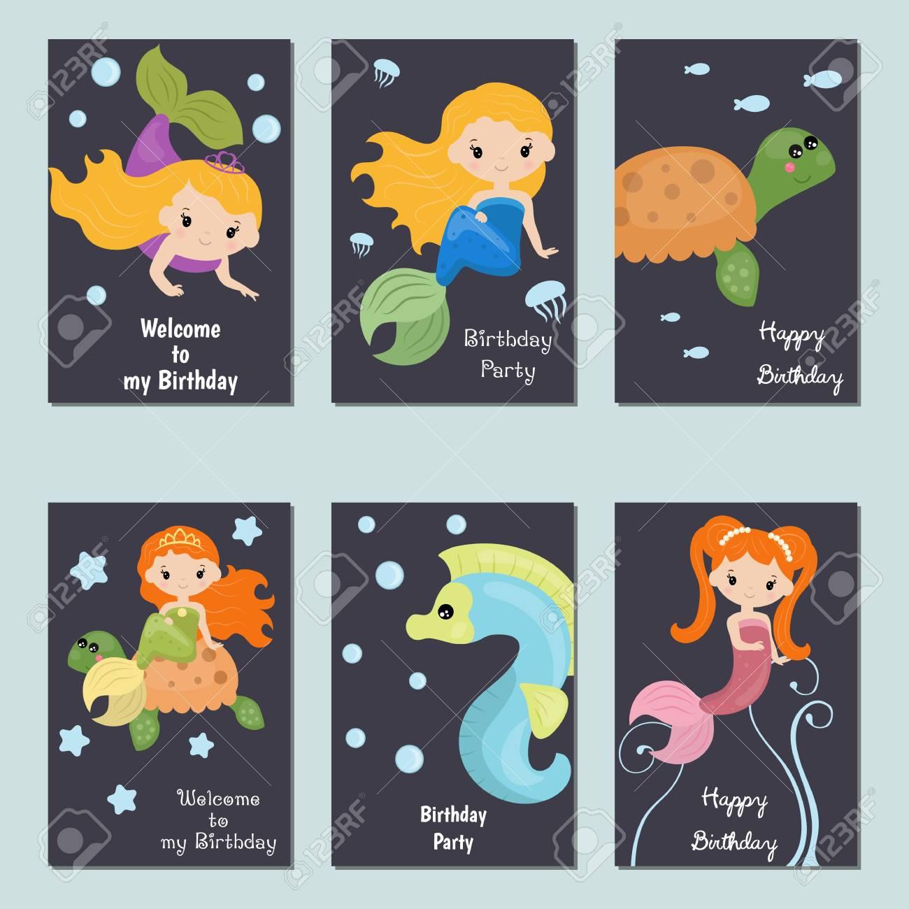 Conjunto De Tarjetas Hermosas De La Invitación Del Cumpleaños Adornadas Con Las Sirenas Y Los Animales De Mar Lindos De La Muchacha