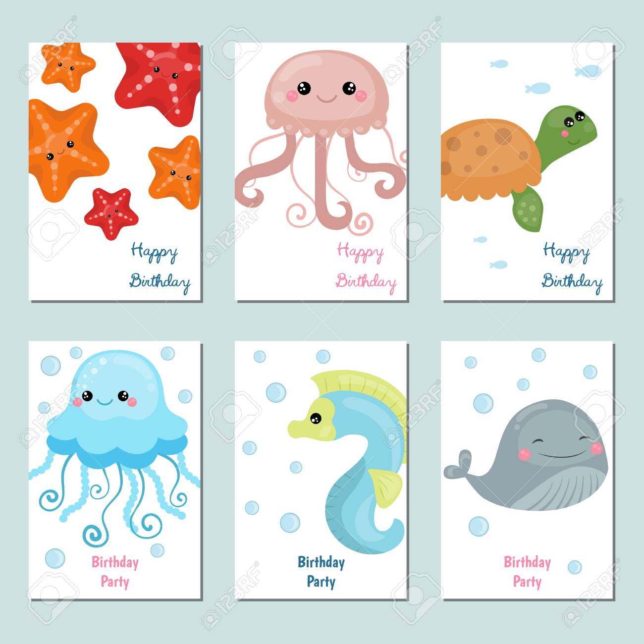 Set Of Beautiful Birthday Invitation Cards Decorated With Sea Animals Stock Vector