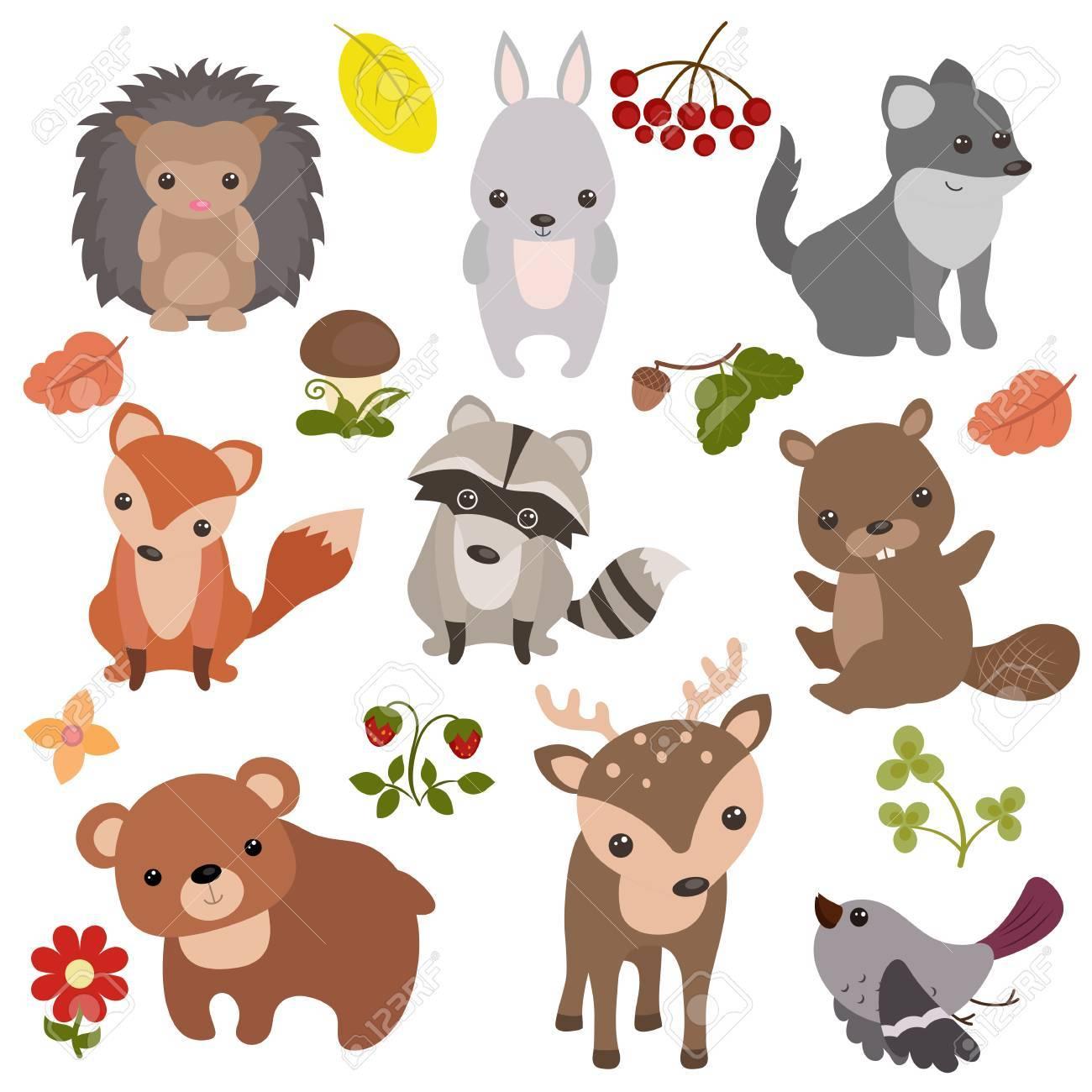 アイコンとイラストの森の動物のベクトルを設定します。