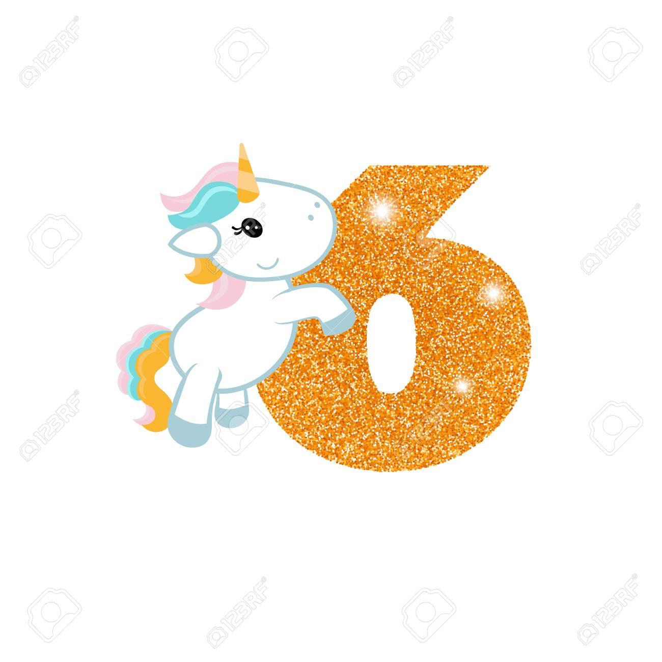 Oro Brillante Número Seis Número De Aniversario De Cumpleaños Con Lindo Unicornio Plantilla De Cumpleaños Con Unicornio Para Tarjetas De