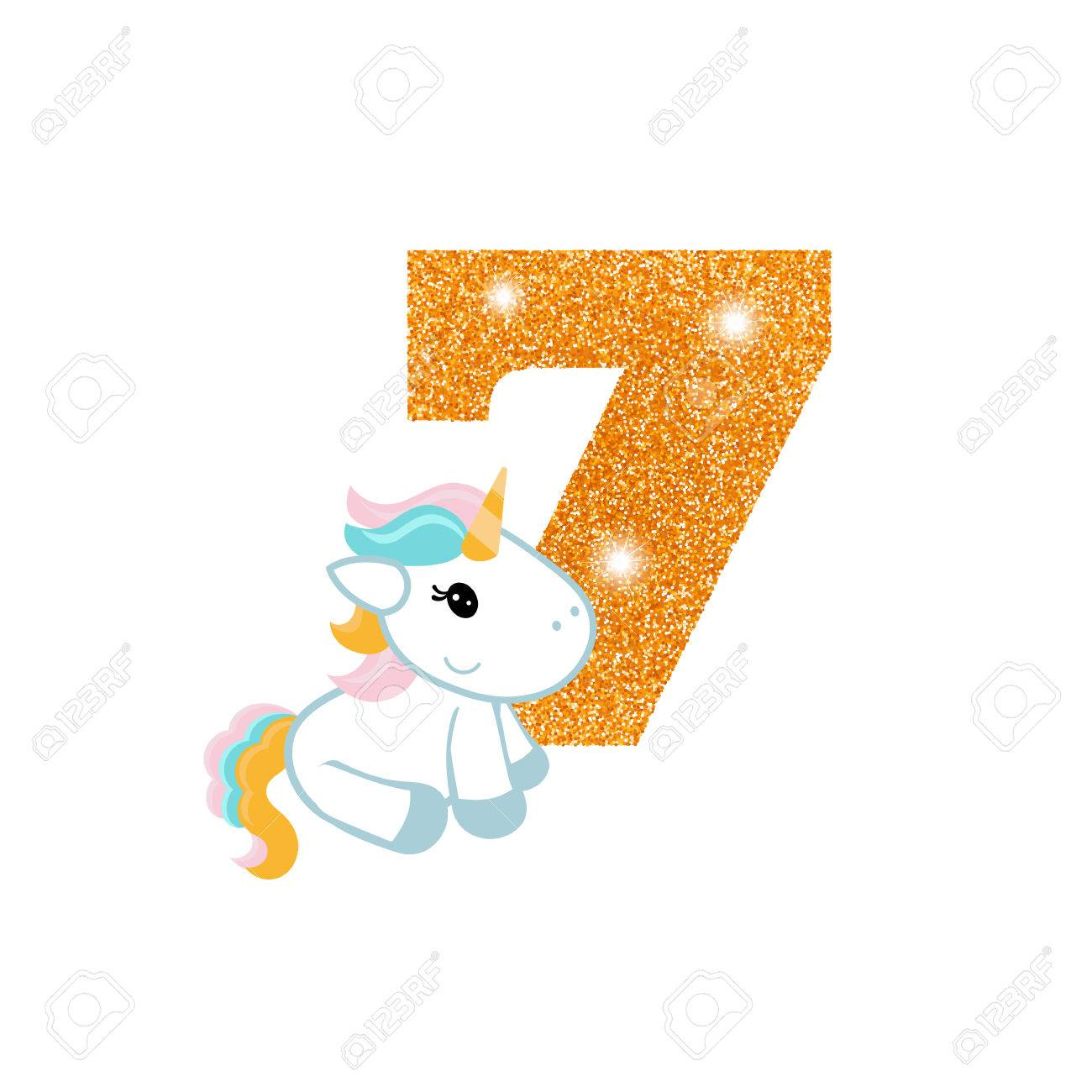 Gold Glittering Number Seven Birthday Anniversary Number With