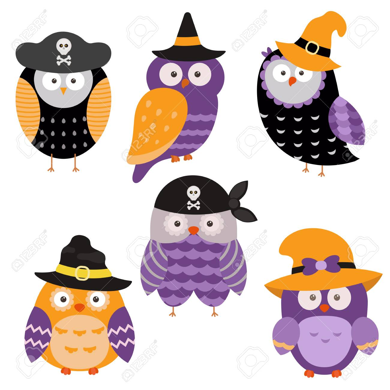 Collection of cute cartoon owls on a white background. Happy..