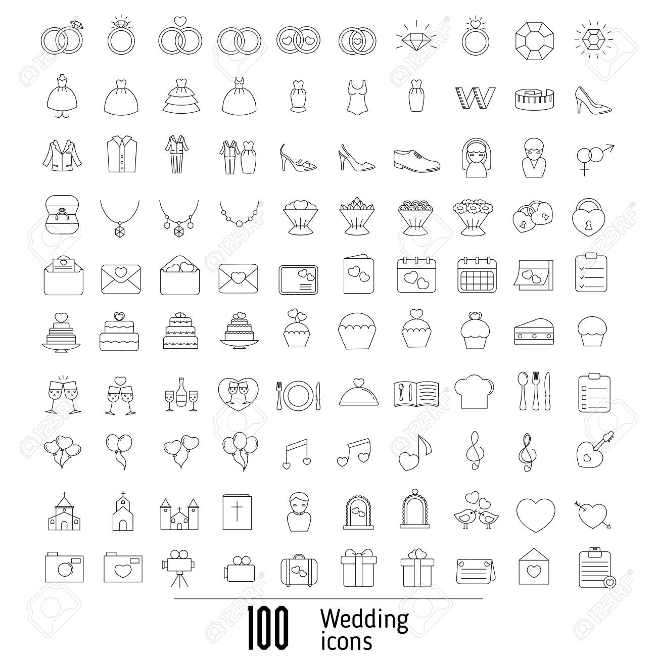Set Of Outline Wedding Icon Can Be Used In Wedding Invitation