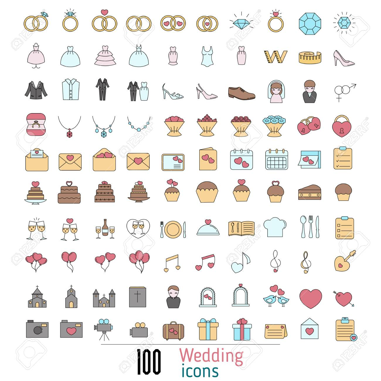 Set of wedding icon can be used in wedding invitation design set of wedding icon can be used in wedding invitation design cards websites stopboris Image collections
