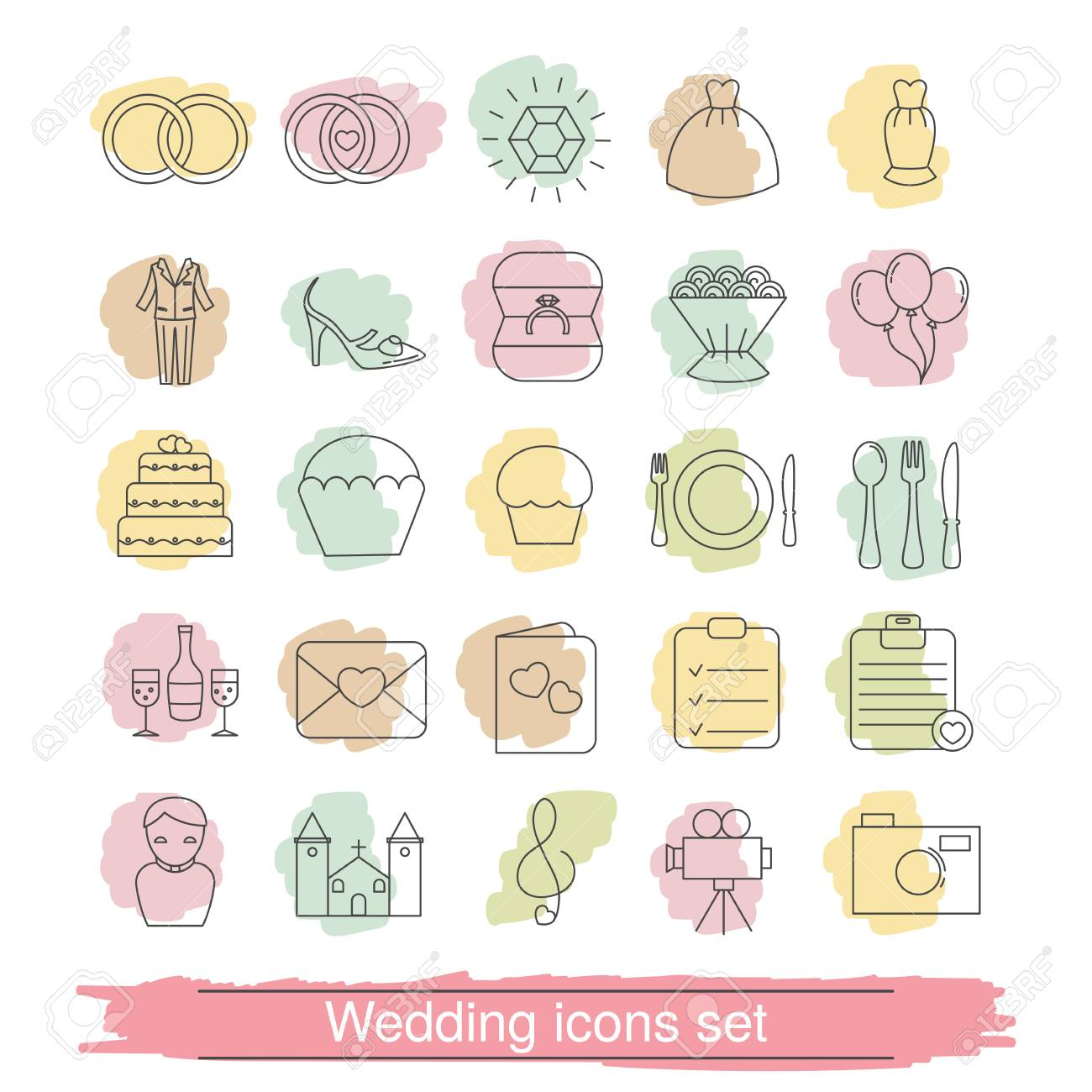Set Of Outline Wedding Icon. Can Be Used In Wedding Invitation ...